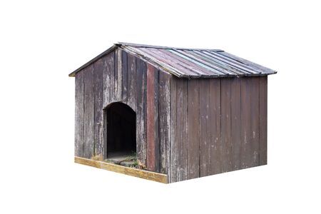 old brown wooden doghouse isolated on white background Stock Photo