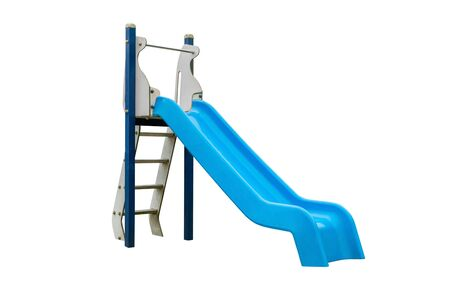 blue plastic children's slide isolated on white background