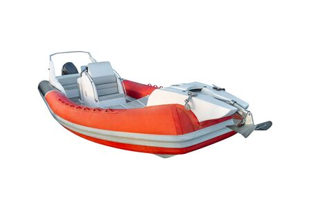 image of red inflatable motor boat isolated on a white background