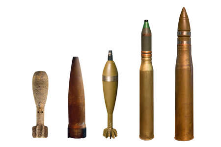 various types of military artillery shells of the second world war isolated on white background