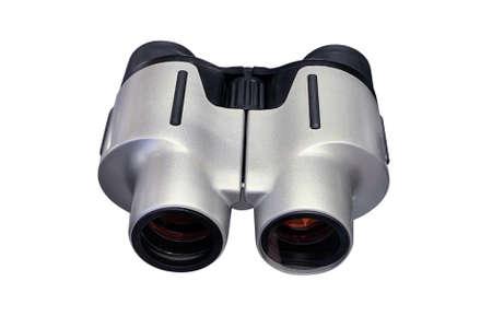 gray binoculars isolated on white background, close-up