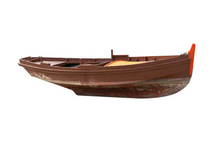 brown wooden fishing boat isolated on white background Archivio Fotografico