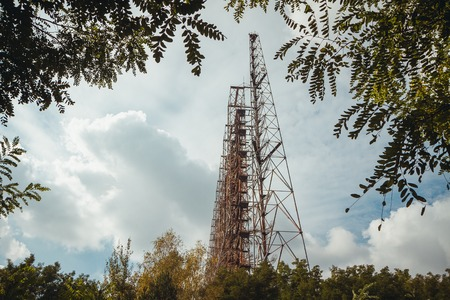 Duga - Soviet over-the-horizon OTH radar system. Duga-3 Russian Woodpecker - antenna complex, military object of USSR ABM. Chernobyl Exclusion Zone, Pripyat, Ukraine Stock Photo