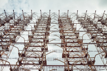 Duga - Soviet over-the-horizon OTH radar system. Duga-3 Russian Woodpecker - antenna complex, military object of USSR ABM. Chernobyl Exclusion Zone, Pripyat, Ukraine Imagens