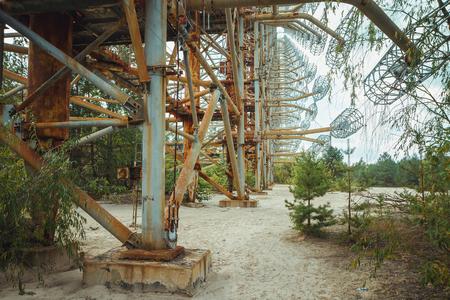 Duga - Soviet over-the-horizon OTH radar system. Duga-3 Russian Woodpecker - antenna complex, military object of USSR ABM. Chernobyl Exclusion Zone, Pripyat, Ukraine Banco de Imagens