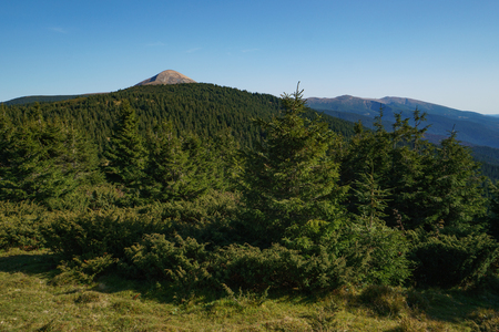 Landscape of Mount Hoverla is the highest mountain of the Ukrainian Carpathian Mountains, Chornohora