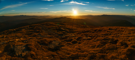 Beautiful landscape at sunset of the Ukrainian Carpathian Mountains, Chornohora from Mount Petros