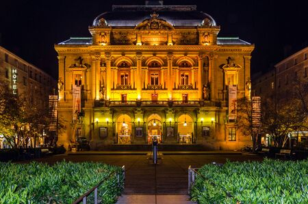 a nocturne: Celestins Theater illumination in the night, Lyon, France Stock Photo