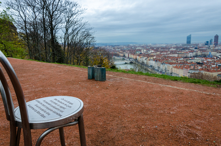 blanc: Chair with view on Mont Blanc in Lyon, France Stock Photo