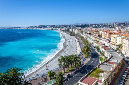 cote d'azur: Front view of the Mediterranean sea, bay of Angels, Nice, France Stock Photo