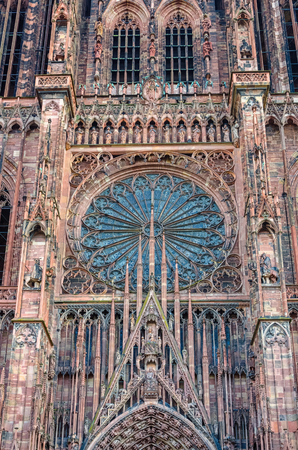 rose window: Central part of the Strasbourg Cathedral with rose window, France
