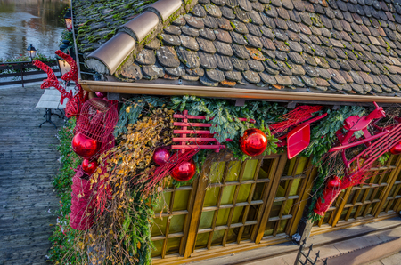 christmas house: Christmas decoration of a house in Petite France, Strasbourg France