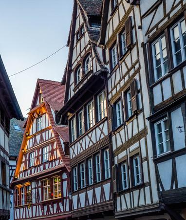 Half-timbered alsatian houses in Petite France quarter, Strasbourg, France Stock Photo