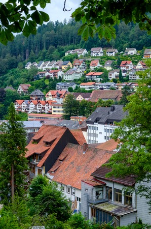 Organised lines of houses in Triberg Black forest, Baden land Germany