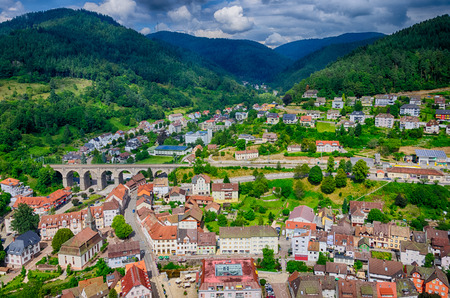Sunny Hornberg city view from the castle, Baden Wurttemberg, Germany