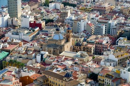 saint nicolas: Co-cathedral Saint Nicolas of Bari in Alicante hidden between the houses, summer Spain