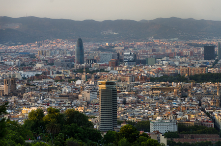 montjuic: Panoramic view on Barcelona places of interest from Montjuic mountain, summer Spain