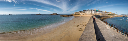 Panoramic view on Saint-Malo sandy coast, city and port, France Stock Photo