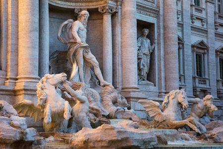 pilasters: Oceanus statue of the Trevi fountain in Rome, Italy