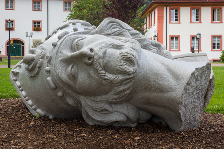 Sculpture of the head of beheaded St. Blaise in St. Blasien, Germany