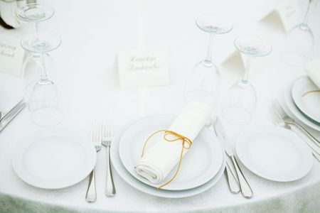 Elegant tables set up for a wedding banquet Stock Photo - 5916222