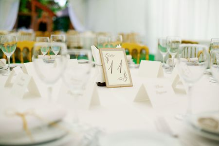 Elegant tables  set up for a wedding banquet Stock Photo - 5916221