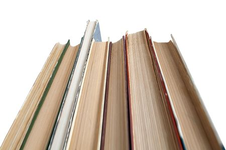 bibliography: A large stack of old books. Isolated on a white background