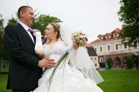 Happy bride and groom on their wedding day Stock Photo - 8892275