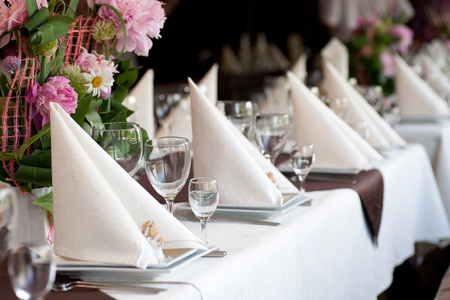 banquets: The restaurant welcomes guests to the celebration Stock Photo