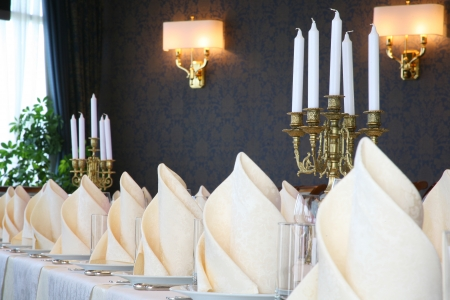 Beautiful and Luxurious Wedding Table Setting photo