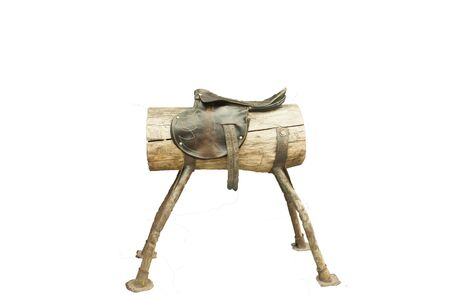 wooden horse with a leather seat on a transparent background