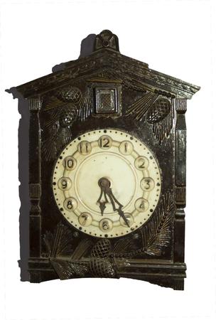 orologi antichi: Antique clocks in wooden case. On a transparent background.