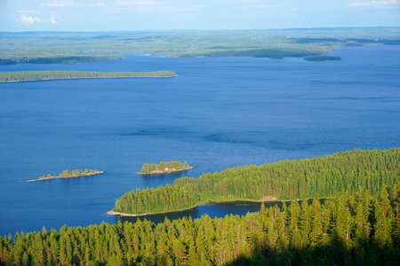 View of the lake Pielinen with many small islands in national park Koli, Finland