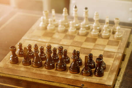 first move: view from king of first move pawn on chess board close up
