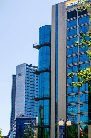 Sochi, Russia - July 20, 2019: Facades of three hotels: Mercury, Marins Park Hotel, Hayatt, Regency. Vertical frame