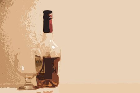 Bottle of whiskey (cognac) and a glass with highlights on the glass. Copy space. Illustration Stock Photo