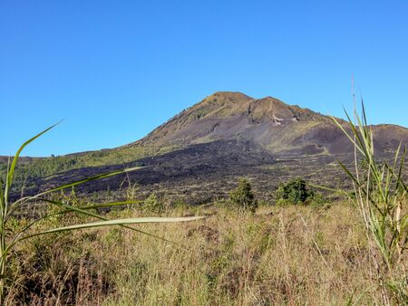 Batur volcano, scorched by long-time eruption and resurgent vegetation. Scorched soil