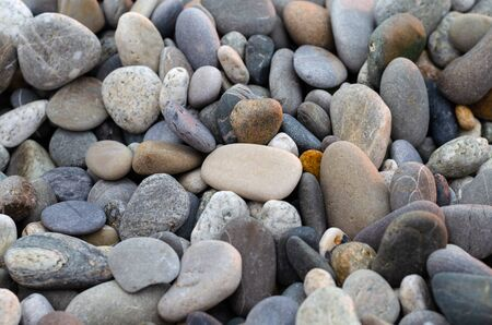Pebbles on the beach: gray, white and purple stones. Focus in the center of the frame Фото со стока