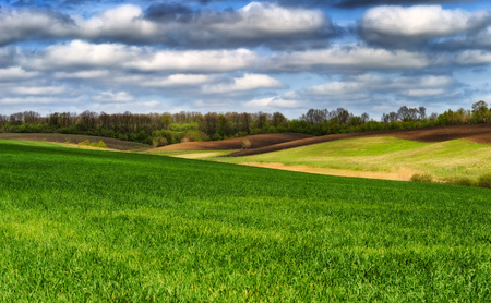 a hilly field. gloomy clouds over the field Stock Photo