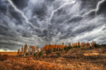Thunder Sky. lightning in the sky. dark clouds Stock Photo