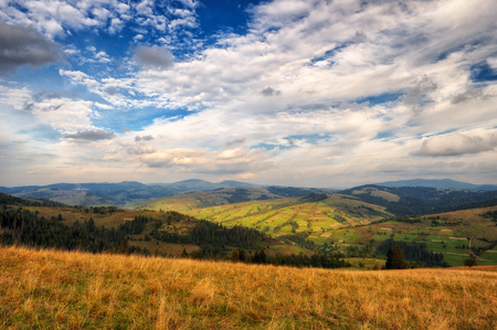 autumn morning. a picturesque sky in the autumn Carpathian mountains