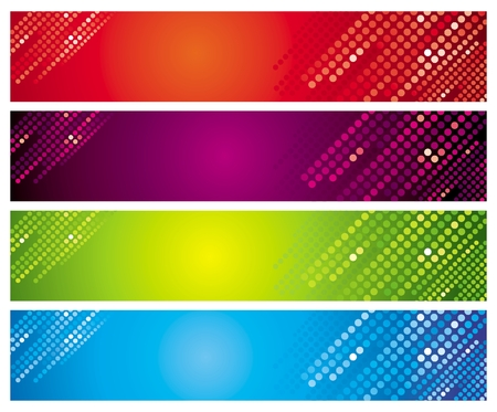 Quatre bannières de différentes couleurs Vecteurs