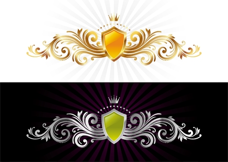 Shield and ornament Vector