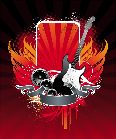 Illustration on a musical theme with electro-guitar Vector