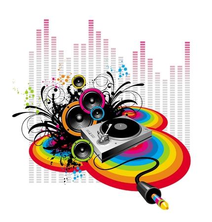 giradisco: Giradischi e diffusori sul grunge-rainbow background