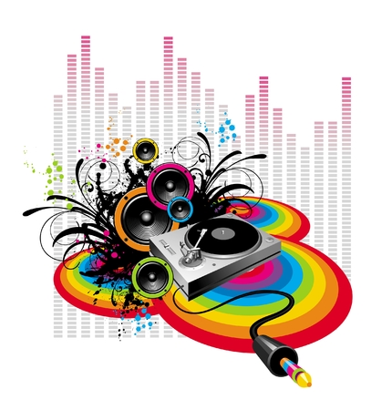 Turntable & loudspeakers on grunge-rainbow background Illustration