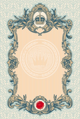 nobility: Ornate engraved vintage decorative vector frame