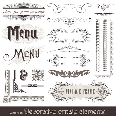 Vector decorative ornate design elements & calligraphic page decorations Stock Vector - 9857348