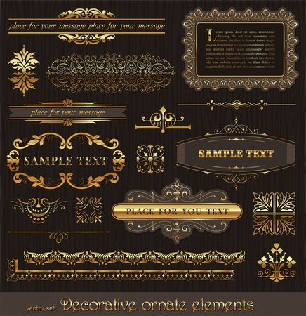 Vector set of golden ornate page decor elements: borders, banner, deviders, ornaments and patterns on wooden wall Vector