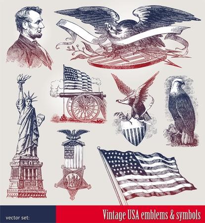 Conjunto de vectores de emblemas patrióticos estadounidenses & símbolos Ilustración de vector